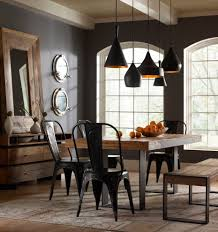 Tolix Chair Dining Room Industrial With Table Pendant Lights