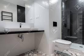 schwarz weiß badezimmer mit dusche wc arbeitsplatte und spiegel