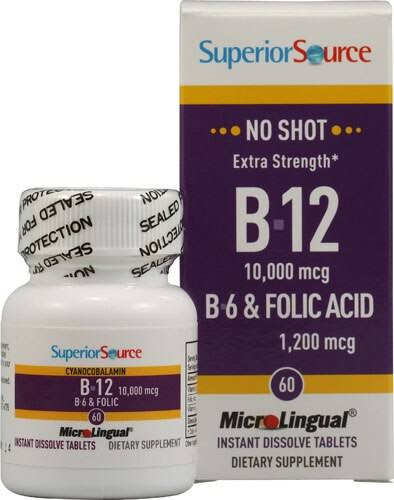 Superior Source No Shot B12 10,000 mcg / B-6 / Folic Acid 1200 mcg - 60 - Sublingual Tablet
