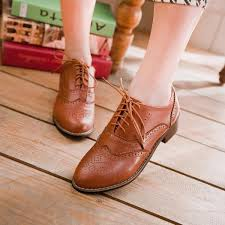 Vintage New Womens Shoes Lace Up Brogues Girls College Oxford Low Flat Heels Brown On Luulla