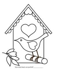 Valentine Bird House Coloring Page By Cuteteachers On Etsy