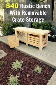 40 Rustic Bench With Removable Crate Storage