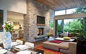 Modern Vancouver Canada Home Interkior Decor For Living Room Dining And Kitchen With Stone Fireplace Tv Divider