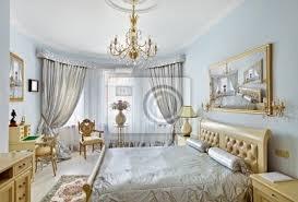 klassische luxus schlafzimmer interieur in blau und silber farben bilder myloview