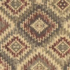 Burgundy Beige And Green Diamond Southwest Style Upholstery Fabric By The Yard