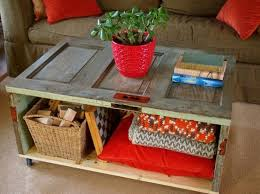 Rustic Living Room Furniture Design With DIY Square Low Coffee Table Using Reclaimed Wood Bookshelf And Pillow Storage Plus Rattan Basket Ideas