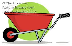 A Green Circle Behind a Wheelbarrow Clipart Image