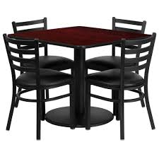 36'' Square Mahogany Laminate Table Set With Round Base And 4 Ladder Back  Metal Chairs - Black Vinyl Seat Flash Fniture 36 In Round Natural Laminate Table Set With 4 Black Tables A Chair Affair Inc Glass Top Lovely Kitchen And Chairs Lets Talk Linens The Ultimate Guide To Linen Sizes Party Product Categories Conway Rental Center 96 X 42 Banquet Wood Folding Metal Edging Offex Ladder Back And Vinyl Seat Ofre008bkfstdr Rentals Aaa Rents Event Services Chaps Time Bars Spokane
