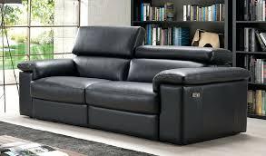 leather sofa sorrento reclining 3 seater black italian leather