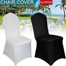 Details About 200x White Chair Covers Full Seat Cover Spandex Lycra Stretch  Banquet Wedding AU