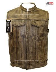 men u0027s distressed brown leather motorcycle club vest bikers gear