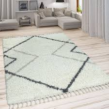 skandi teppich beige hochflor wohnzimmer rauten design