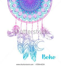 Hand Drawn Native American Indian Talisman Dream Catcher With Mandala Round Pattern Feathers Moon