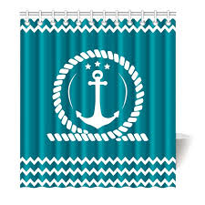 Chevron Print Shower Curtains by Aliexpress Com Buy Blue Anchor And Chevron Ocean Winds Printing