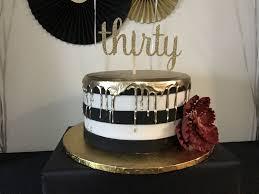 30th Birthday Cake Black white and gold