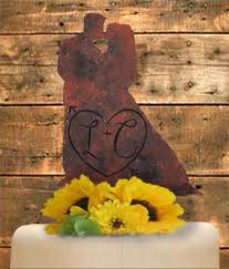 Rustic Bride And Groom Wedding Cake Topper Country Faux Metal Chic TopperPersonalized Lucky Bee Designs