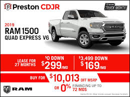 100 Dodge Truck Leases New Vehicle Special Offers Preston Chrysler Jeep Ram