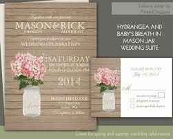 Rustic Mason Jar Hydrangeas And Babys Breath Wedding Invitations