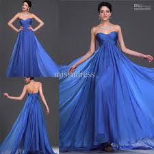graceful custom made royal blue sweetheart ruched empire evening