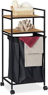 relaxdays rollregal bad 2 ablagen badregal mit wäschekorb metall bambus hbt 89 5 x 39 x 32 5 cm schwarz natur