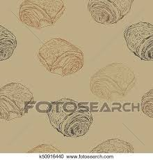 Chocolate Croissants Pain Au Chocolat Traditional French Pastry Hand Draw Sketch Seamless Pattern Vector