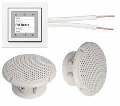 berker radio unterputzradio einbauradio 28848989 polarweiß glänzend komplett set 2 x deckenlautsprecher weiß feuchtraum badezimmer 20 m