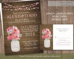 Rustic Wedding Invitations With Mason Jar And Hanging Lights