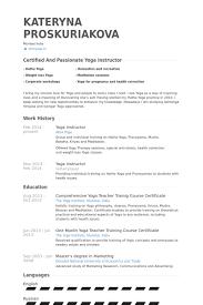 Yoga Instructor Resume Samples Visualcv Database