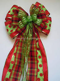Funky Christmas Bow Red Green Plaid Polka Dots Tree Topper
