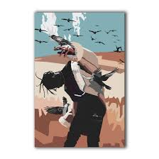 100 Pop Art Home Decor Susu Travis Scott Rapper Canvas Abtract Giclee Print Painting Picture Wall WPAP Gifts With Framed Size 1 12x18inch