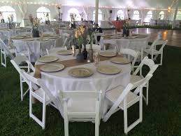 Kim Stucker Wedding May 17 2014 Round Table White Linen Burlap Runner Garden Chairs