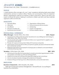 Office Management Resume Example