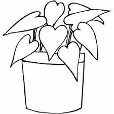 Plant With Heart Leaves Coloring Sheet