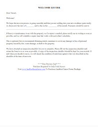 Residential Rental Lease Agreement New Tenant Welcome Letter