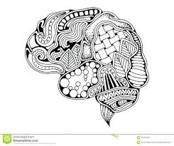 Human Brain Coloring Book Pdf Free Pages Doodle Decorative Curves Creative Mind Learning Design Adult Anti