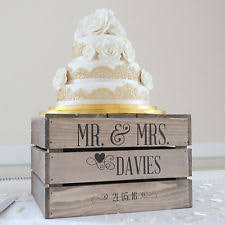 Personalised Rustic Wedding Cake Stand Vintage Wooden Crate