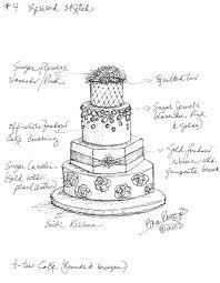 Custom Wedding Cake Sketch by Ana Parzych