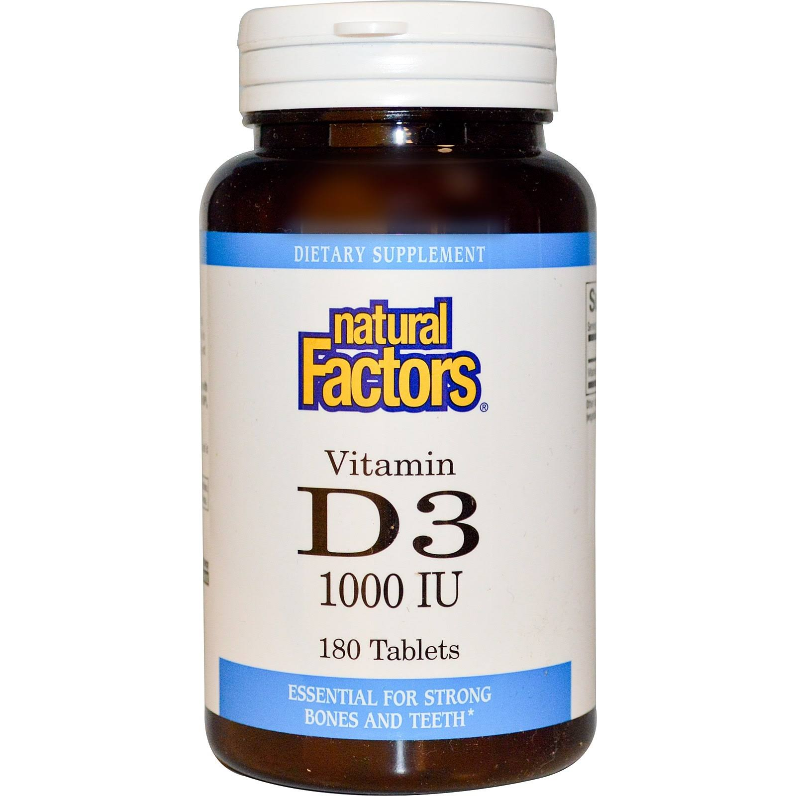 Natural Factors Vitamin D3 Supplement - 1000 IU, 180 Tablets