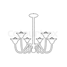 Chandelier Simple Sign Vector Black Dotted Icon On White Background Isolated