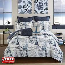 Nautical Navy Blue forter Set King Size 7pc Reversible Bed