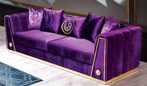 casa padrino luxus lila gold 260 x 90 x h 76 cm edles wohnzimmer sofa mit dekorativen kissen luxus möbel