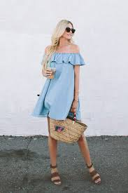 Easy And Affordable Fashion For Summer This Denim Ruffle Dress Is Perfect Backyard Barbecues Off The Shoulder Silhouettes Are On Trend