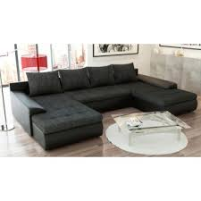 canapé panoramique tissu canapé panoramique convertible joyu noir en tissu et simili cuir
