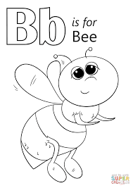 Letter B Is For Bee Coloring Page Free Printable Pages