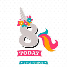 8th Birthday SVG Unicorn Birthday Iron On File 8th Birthday Shirt