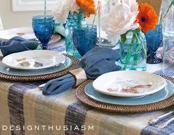 Nautical Table Decor with Blue Dishes & Sea Life Plates
