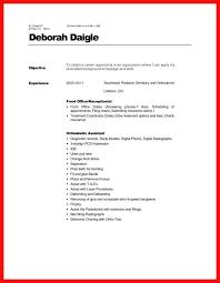 Dental Front Desk Resume Objective Examples For