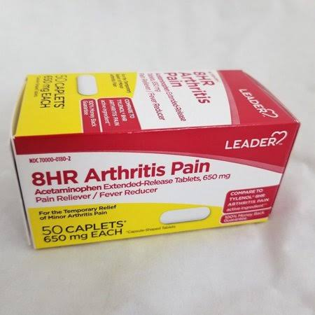 Leader 8 Hour Arthritis Pain Caplets, 650mg, 50ct 096295131345F376