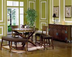 Dining Room Curvy Brown Wooden Bench And Chairs With Leather Seat Plus Round