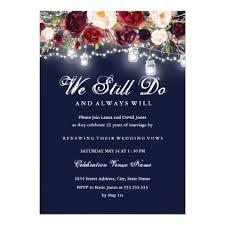 Burgundy Navy Floral Lights Wedding Vow Renewal Card